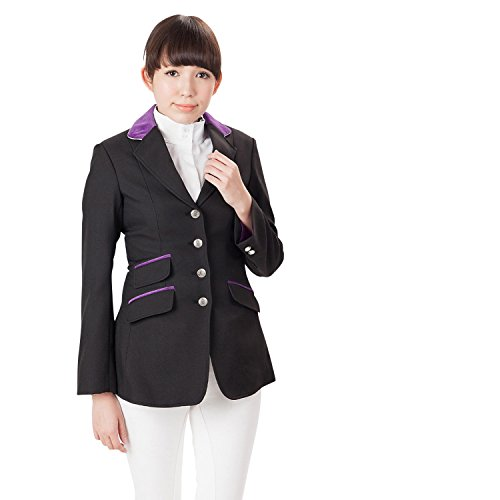 Shires Ladies Henley Competition Jacket (Black/Purple, (Piping Wool Coat)