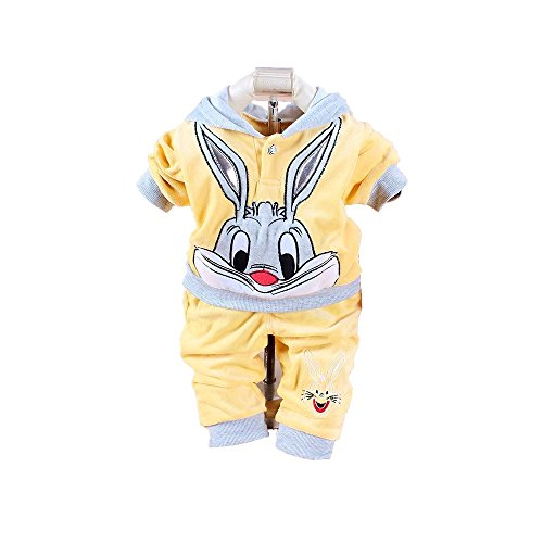 Shanghai Girl Costume (Baby Bebe Girl Girls Clothing Sets Spring Baby Set Rabbit Velvet Twinset Long Sleeve Hoodie and Pant Children Clothing (XXL, Yellow))