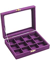12 Grids Jewelry Holder Organizer Box Storage Case Earrings Rings Disply with Lock for Women Girls (Purple)