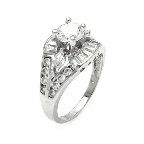 Princess Kylie Baguette Round Center Cubic Zirconia Split Bridal Ring Rhodium Plated Sterling Silver Size 9