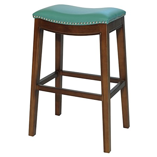 New Pacific Direct Elmo Bonded Leather Bar Stool,Cinnamon Brown Legs,Turquoise Green