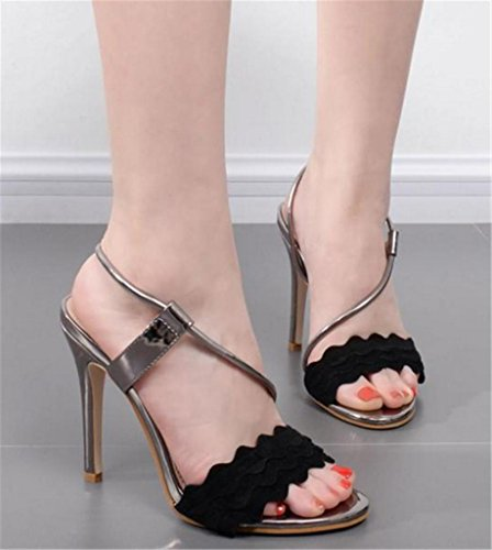 Shoes Sandals Personality Ladies Gift Black High Platform Banquet Girl's Party Prom Size Womens Strap Ankle Heel HETAO SBA7PnPq