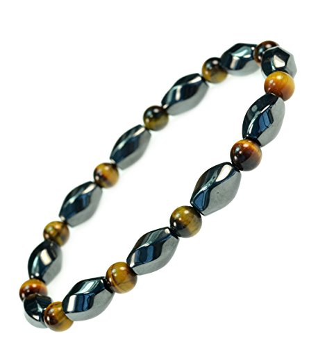 3 X Power Beautiful Magnetic Hematite Tiger eye gemstone Bracelet -Good for Healing and Energy or Arthritis Pain Relief