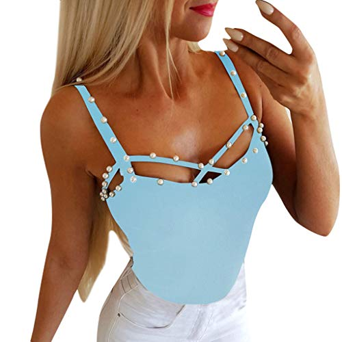 Cenglings Women Sexy Spaghetti Strap V Neck Pearls Vest Strappy Cross Solid Blouse Club Slim Fit Beach Tops Shirts Sky Blue