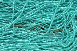 Colorlined Green Teal w/Luster 11/0 Round Czech Glass Seed Beads/Hank Spacer Beads and Roll Crystal String for Bracelets Jewelry Making