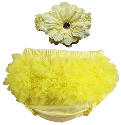Toddler Elf - October Elf Baby Girl's Briefs Chiffon Ruffle Bloomer and Headband Diaper Cover (S(0-6M), Yellow)