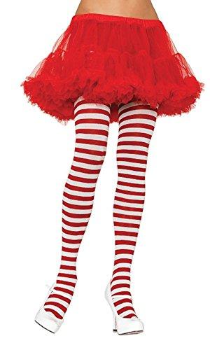 [Nylon Stripe Tights O/s White/red] (Striped Leggings Costumes)