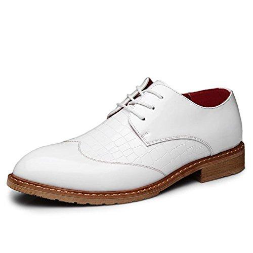 Chaussures en Cuir pour Hommes Block Chaussures en Cuir Fashion White XlqWScJFZ0