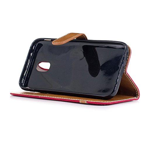 XIAOGUA Cases & Covers, Para Samsung Galaxy J3 (2017) / J330 (versión EU) Funda de cuero Denim Texture con soporte y ranuras para tarjetas & billetera y cordón ( Color : Black ) Red