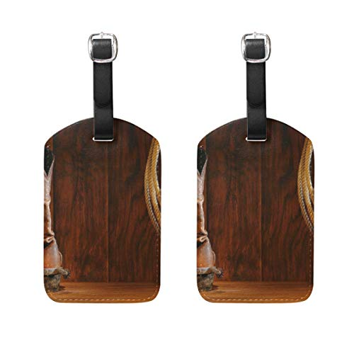 Equestrian Sports Team Roping Barn Luggage Tags PU Leather Baggage Bag Instrument Label Travel Suitcase Tags 2 Pcs Set