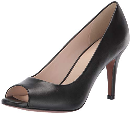 Cole Haan Women's Harlow Open Toe Pump (85MM), Black Leather, 8 B US