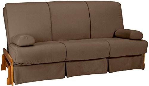 Bali Perfect Sit & Sleep Pocketed Coil Inner Spring Pillow Top Sofa Sleeper Bed, Queen-size, Medium Oak Arm Finish, Microfiber Suede Mocha Brown Upholstery