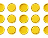 100 1'' inch Flat Linerless Double Sided Painted Flattened Bottle Caps For Crafts (Yellow)