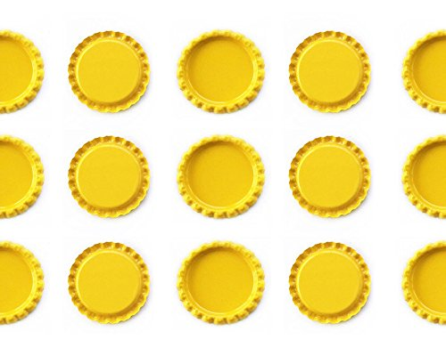100 1'' inch Flat Linerless Double Sided Painted Flattened Bottle Caps For Crafts (Yellow) by Unknown