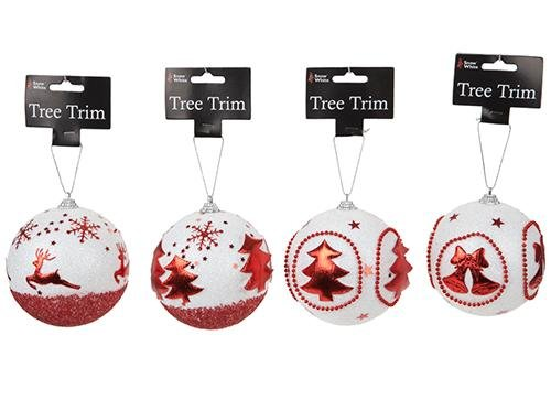 Large Glitter Baubles - Red and White - Tree Trims