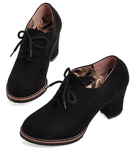 Idifu Womens Retro Mid Chunky Lace Up Low Top Boots Nero