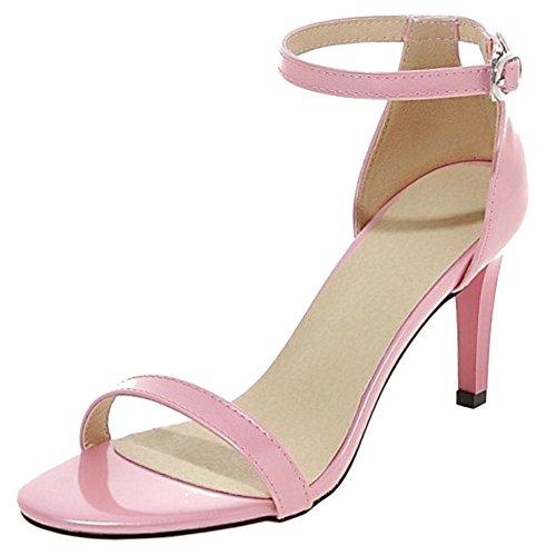 COOLCEPT Mujer Moda Strappy Zapatos Punta Abierta Al Tobillo Tacon De Aguja Sandalias Rosado