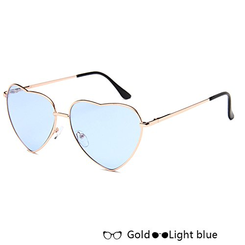 De Oro Moda W blue Gafas Corazón Mujer W Lujo Sol De Rosa De Gold Sol Atrás TIANLIANG04 Forma Gafas De Light Azul De En 4xwg0CAq