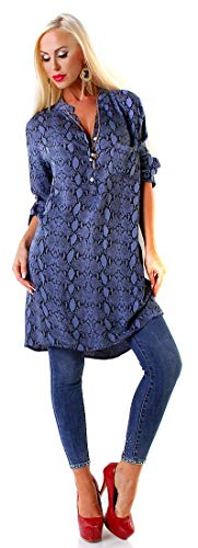 Longsleeve Kleid Krempelärmel Blue Size Long Rückenfalte M Snake Vokuhila Tunika Damen nIq5z5