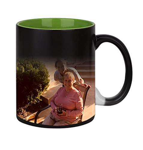 - Magic Custom Photo Color Changing Coffee Mug Cup, Personalized DIY Print Ceramic Hot Heat Sensitive Cup Birthday Christmas Gift -Add YOUR PHOTO&TEXT (Green Inside)