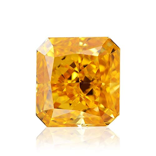 0.51Cts Fancy Vivid Orange Yellow Loose Diamond Natural Color Radiant Cut GIA