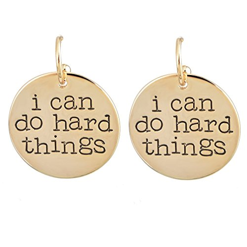 MJARTORIA Gold Color I can do hard things Engraved Disk Dangle Earrings (I Can Do Hard Things compare prices)