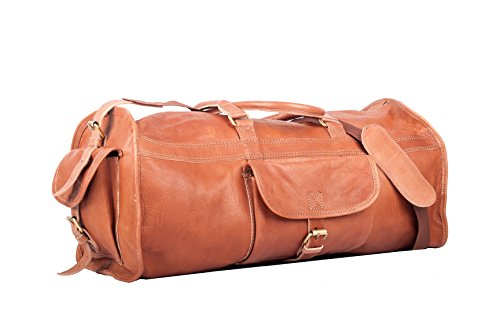 Borsa a tracolla marrone cuoio reale WEEKEND BAG unisex.
