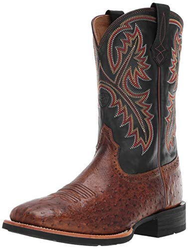 Ariat Men's Quickdraw Western Boot, Matte Brown Smooth Quill Ostrich, 12 2E US