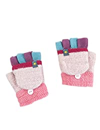 THEE Unisex Boys Girls Flip Top Gloves Warm Half Finger Stretchy Knit Gloves