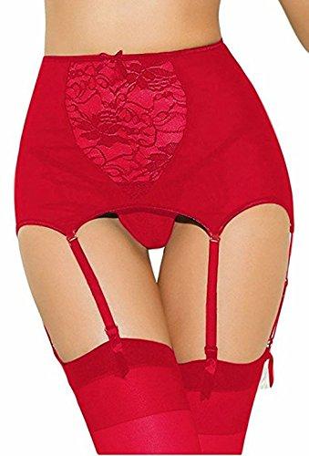 pizzo vita Reggicalze a in Rosso sexy SheShy Size fuori donne Plus Vuoto alta qHXn86