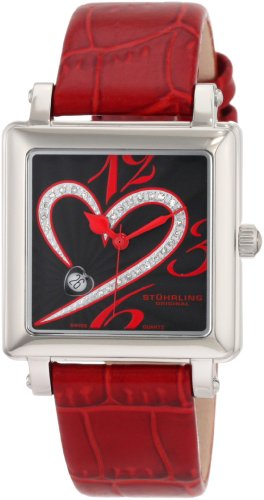 Stuhrling Original Women's 253XL.1115H1 Amour Aphrodite Courtly Passion Swiss Quartz Diamond Date Red Watch