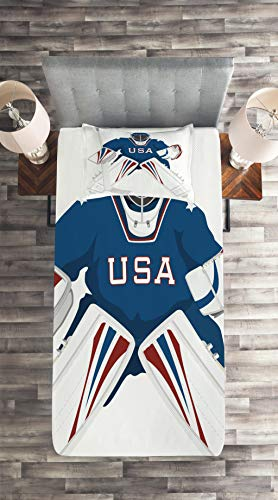 Lunarable Sports Coverlet Set Twin Size, USA Hockey Goalie Protection Jersey Sport Wear Activity Hobby Illustration, 2 Piece Decorative Quilted Bedspread Set with 1 Pillow Sham, Burgundy White