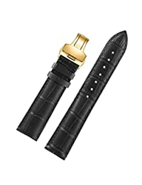 22mm Black Decent Durable Leather Watch Band Strap for Men Gold Butterfly Clasp Moderate Padding Natural Leather