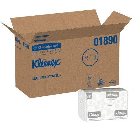 Kleenex 01890 Multi-Fold Paper Towels, 9 1/5 x 9 2/5, White, Pack of 150 (Case of 16 Packs) (Paper Towel - 2 Cases) by Kleenex