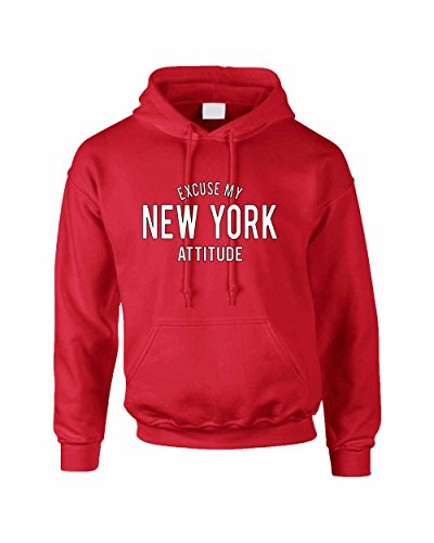 Allntrends Adult Hoodie Excuse My New York Attitude Fun Cool Sweatshirt (XL, Red) - Excuse Adult Hoody Sweatshirt
