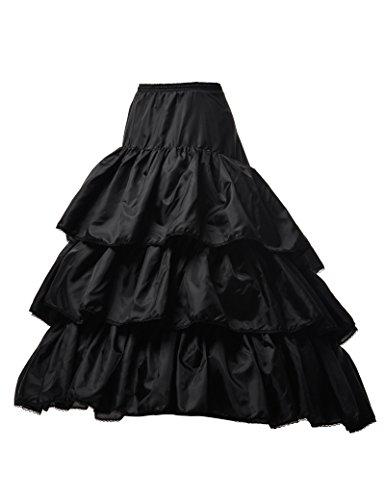 Remedios 3 Hoop Boned Train Petticoat Slip Wedding Understkirt Crinoline Black S-M(US2-16) -