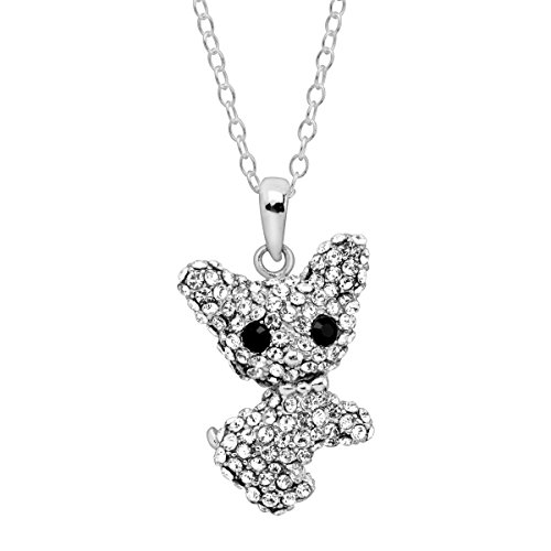 Crystaluxe Year of the Dog Chihuahua Pendant Necklace with Swarovski Crystals in Sterling Silver (Dog Necklace Crystal Swarovski)