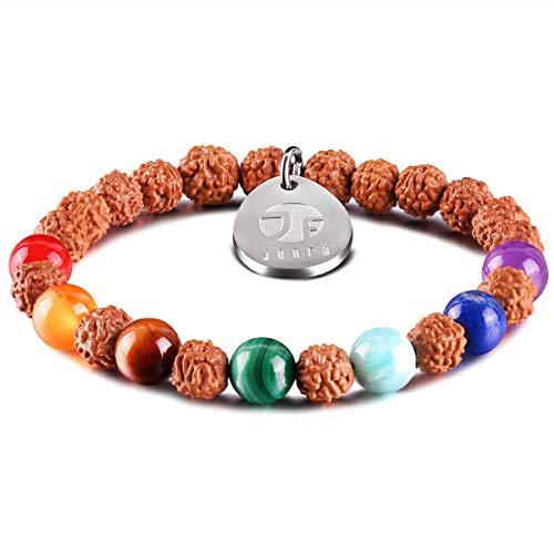 JOXFA Natural Genuine 8mm Gemstone Mala Beads Chakra Rudraksha Stretch Bracelet for Men Women Yoga Meditation Rosary (Chakra Beads B)