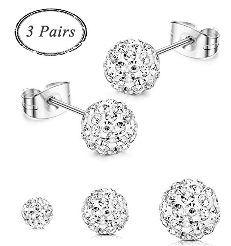 JOERICA 3 Pairs Stainless Steel Ball Stud Earrings Set Silver Cray Bead CZ Disco Round Stud Earrings for Women Girls 6-8mm