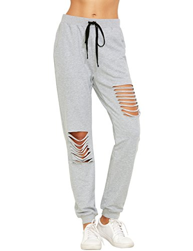 a1ddff198bff8 SweatyRocks Women s Ripped Pants Drawstring Yoga Workout Sweatpants ...