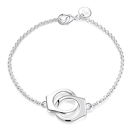 Craftdady Silver Plated Handcuffs Link Bracelet Friendship Couples Hand Cuff Charm Pendant Jewelry Gift