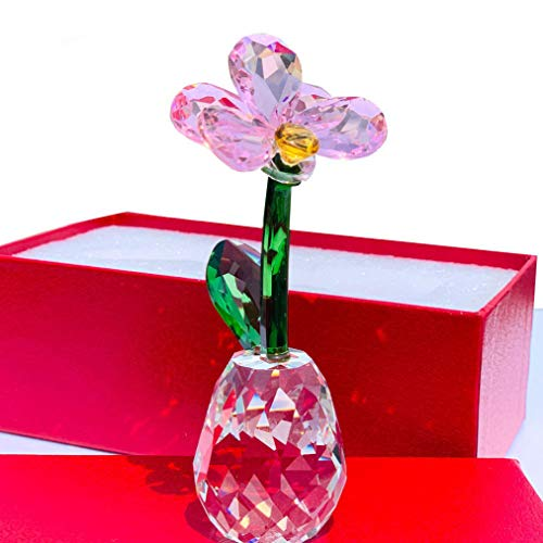 - XOBULLO Crystal Flower Statue Glass Unfading Moth Orchid Bouquet Sculpture Ornament Wedding Gift Home Decor