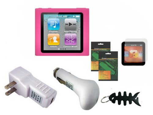 iShoppingdeals - Bundle Accessories for Apple iPod Nano 6G 6th Generation: Pink Soft Skin Cover Case, USB Car Charger, USB Travel AC Charger, Screen Protector