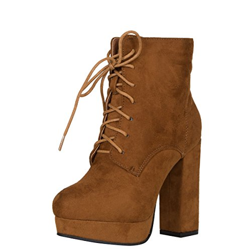 Platform Suede Booties - Nature Breeze Womens Round Toe Lace Up Vegan Suede Chunky High Heel Platform Ankle Booties Boot 8 Tan