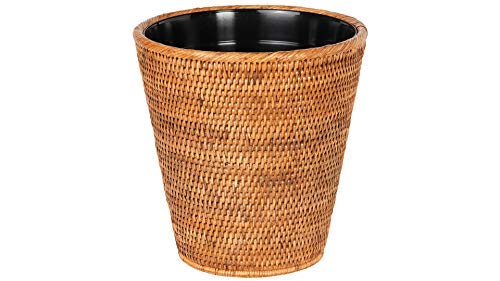 Honey Rattan (Kouboo La Jolla Rattan Waste Basket with Plastic Insert, Honey-Brown)
