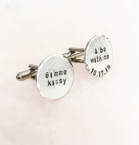 Personalized, Hand Stamped, Round, Cuff Links, Custom Made, Initials, , Monogram, Date, Quote, Brushed Beveled Edge, Business Attire Accessory - Edge Round Cufflinks