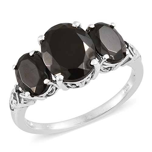 925 Sterling Silver Platinum Plated 3.2 Cttw Oval Shungite, Multi Gemstone Gift Ring For Women Size ()