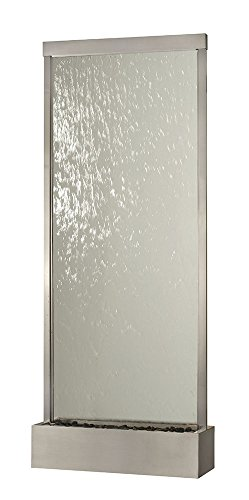 10' Waterfall Grande Floor Fountain Stainless Steel Frame w Clear Glass (Clear Glass Grande Waterfall)