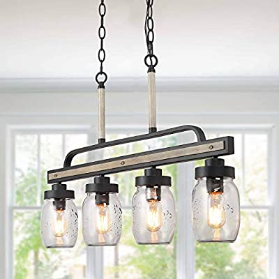 "LOG BARN Rustic Mason Jar Pendant Lighting for Kitchen, 4 Lights Farmhouse Chandelier in Distressed Faux Wood and Dark Grey Metal Finish, 30"" Large Dining Room Linear Lighting"