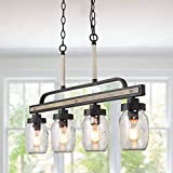 Log Barn Rustic Mason Jar Pendant Lighting for Kitchen, 4 Lights Farmhouse Chandelier in Distressed Faux Wood and Dark Grey Metal Finish, 30'' Large Dining Room Linear Lighting, A03512